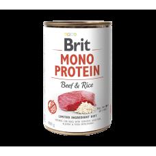 BRIT DOG CANS MONOPROTEIN BEEF & RICE 400gr