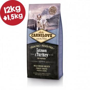 CARNILOVE ΣΟΛΩΜΟΣ & ΓΑΛΟΠΟΥΛΑ (Κουτάβια) 12kg+1,5kg ΔΩΡΟ