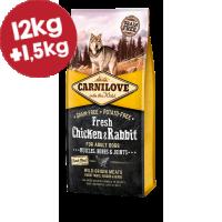 CARNILOVE FRESH ΚΟΤΟΠ. & ΚΟΥΝΕΛΙ (Ενήλικες σκύλοι) 12kg+1,5kg ΔΩΡΟ